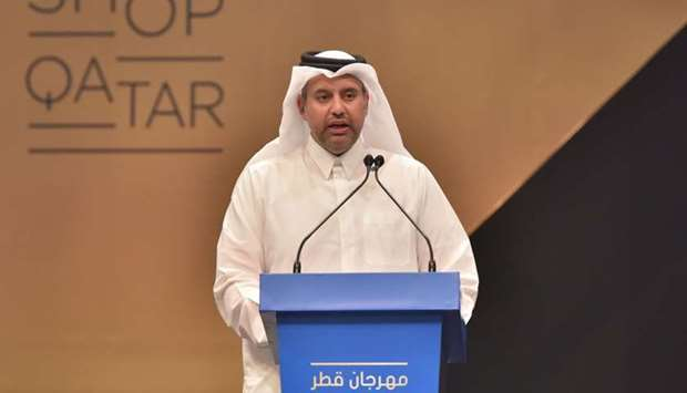 HE the Minister of Economy and Commerce Sheikh Ahmed bin Jassim bin Mohamed al-Thani speaking at the