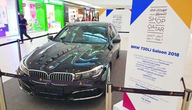 One of the two cars to be won at Shop Qatar 2018 is displayed at City Center Mall. PICTURE: Joey Agu