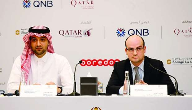 (From left) Ahmed al-Obaidli and Mazen Abd Rabbo announcing details of the 15th Doha Jewellery and W