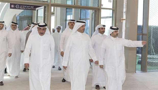 Qatar Rail managing director and CEO Abdulla al-Subaie briefs HE the Prime Minister and Interior Min