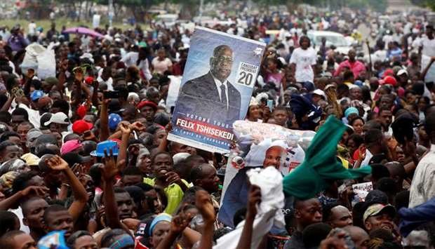 Supporters of Felix Tshisekedi, leader of the Congolese main opposition party, the Union for Democra