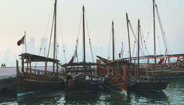 Traditional boats are seen in Doha (file). Qatar's gross domestic product is expected to reach $219b