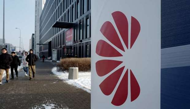 Logo of Huawei is seen on the advert in front of the local offices of Huawei in Warsaw, Poland