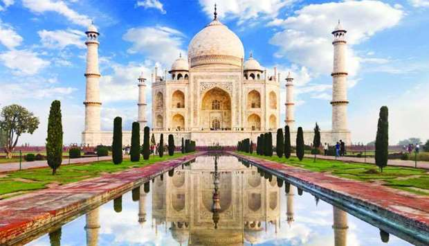 Taj Mahal, an ivory-white marble mausoleum built in Agra, India in 1632, is one of the world's best-