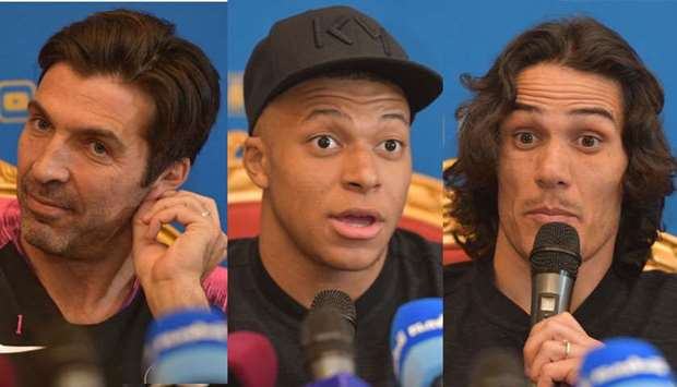 (L to R): PSG stars Buffon, Mbappe and Cavani