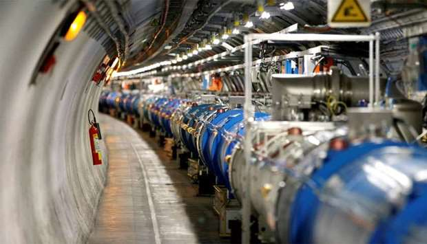 A general view of the Large Hadron Collider (LHC) experiment during a media visit at the Organizatio
