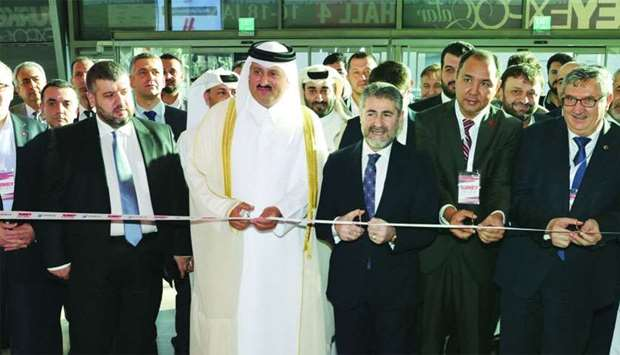 Al-Khater inaugurating the third edition of Turkey Expo Qatar, as Fikret Ozer, Turkish Ambassador to