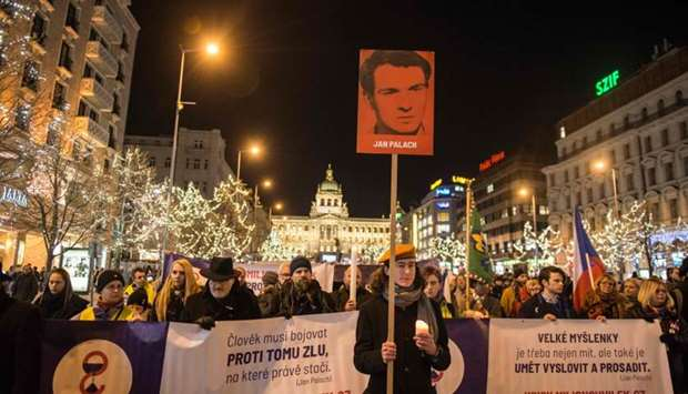 People march to commemorate the 50th anniversary of Jan Palach's death on January 16, 2019 at Wences