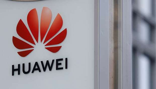 Logo of Huawei - in front of local office in Warsaw, Poland