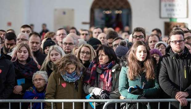 Citizens of Gdansk take part in the funeral ceremony of the late mayor of Gdansk Pawel Adamowicz