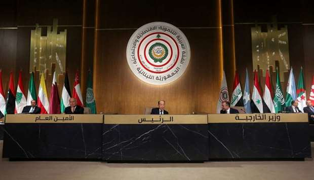Lebanese President Michel Aoun talks during the Arab Economic and Social Development summit meeting