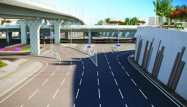 A computer generated image of Duhail Intersection upgrade project
