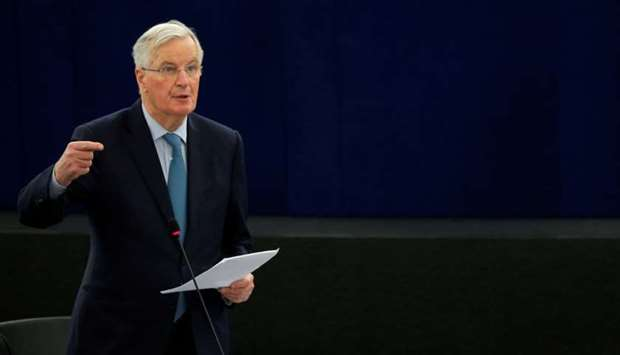 European Union's chief Brexit negotiator Michel Barnier delivers a speech during a debate on BREXIT