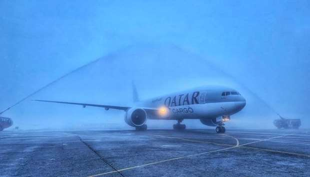 Water salute - Qatar Airways Cargo has commenced freighter operations to Almaty in Kazakhstan