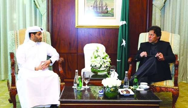 SC secretary-general Hassan al-Thawadi and Pakistan Prime Minister Imran Khan in a meeting