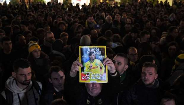 FC Nantes football club supporters gather in Nantes after it was announced that the plane Argentinia