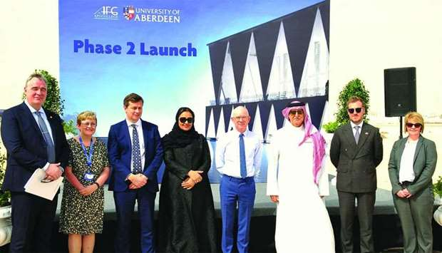 Dr Sheikha Aisha bint Faleh al-Thani with Aberdeen University and AFG College officials. PICTURES: N