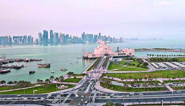 A view of the Museum of Islamic Art with the West Bay skyline in the background.