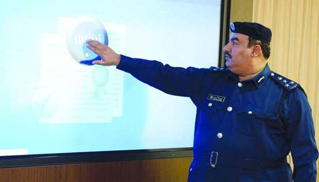 Brigadier Nasser Abdullah al-Mahmoud explains the features of the new service.