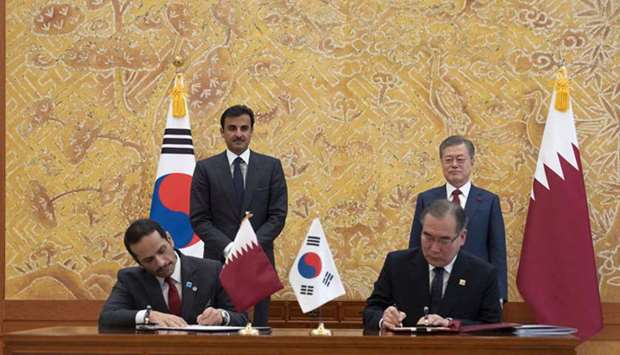His Highness the Amir Sheikh Tamim bin Hamad Al-Thani and the President of the Republic of Korea Moo