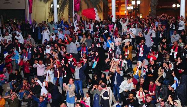 A jubilant crowd at The Pearl-Qatar. PICTURE: Ram Chand