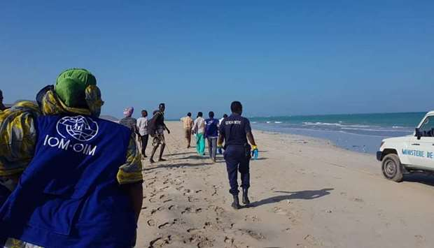 IOM volunteers search for survivors in Godoria, Djibouti.