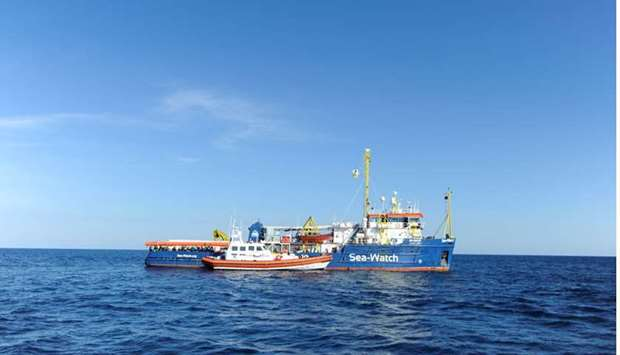 The migrant search and rescue ship Sea-Watch 3 seen off the coast of Siracusa
