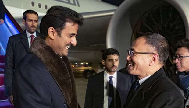 His Highness the Amir being received at the Beijing International Airport by Chinese Assistant Forei
