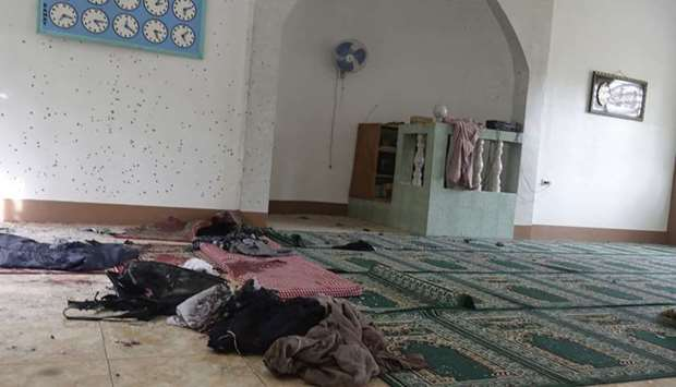 Belongings are seen inside a mosque in Zamboanga city on the southern island of Mindanao after a gre