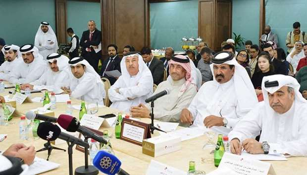 Qatar Chamber first vice chairman Mohamed bin Towar al-Kuwari presiding over the meeting on Tuesday