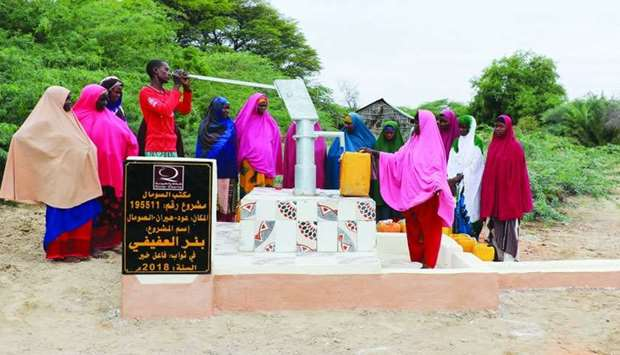Qatar Charity provides clean drinking water to drought-hit people in Somalia