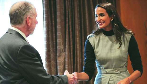 QF vice chairperson and CEO HE Sheikha Hind bint Hamad al-Thani meeting with a senior official from