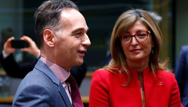 Germany's Foreign Minister Heiko Maas and Bulgaria's Foreign Minister Ekaterina Zaharieva arrive at