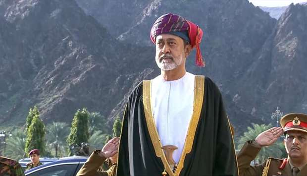 Oman's Sultan Haitham bin Tariq, during a swearing in ceremony as Oman's new leader