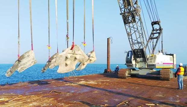 Qatargas installs artificial coral ridge modules off Banana Island