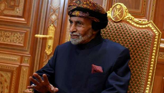 Sultan of Oman Qaboos bin Said al-Said sits during a meeting with U.S. Secretary of State Mike Pompe