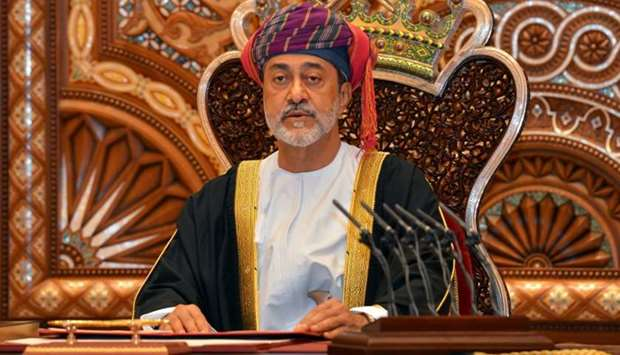 Sultan Haitham bin Tariq al-Said gives a speech after being sworn in before the royal family council