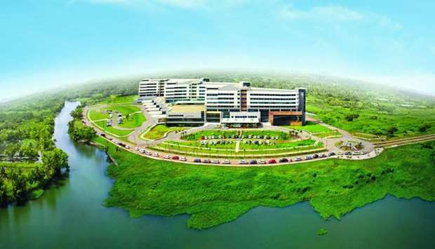 An aerial view of Aster Medcity Kochi, Kerala