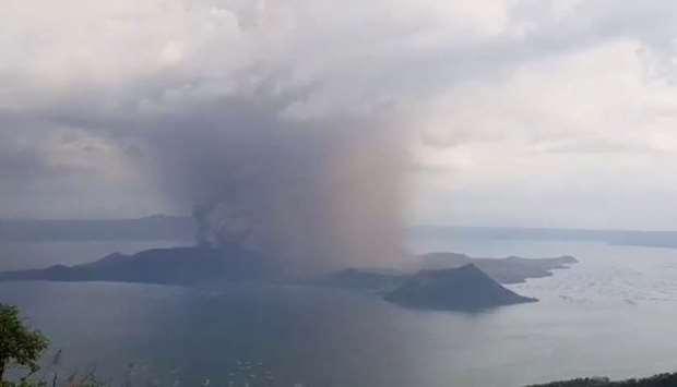 A view of the Taal volcano eruption seen from Tagaytay, Philippines