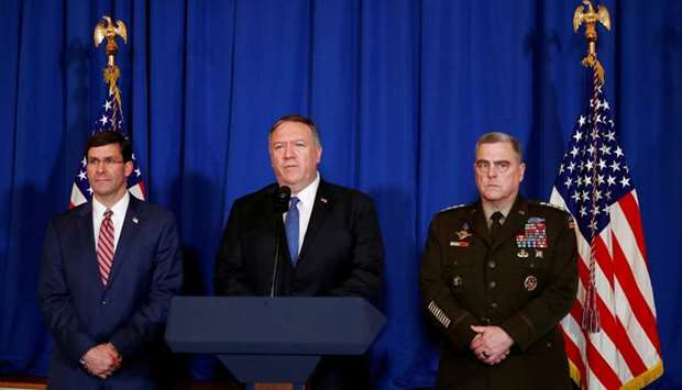 US Secretary of State Mike Pompeo speaks about airstrikes by the US military in Iraq and Syria, at t