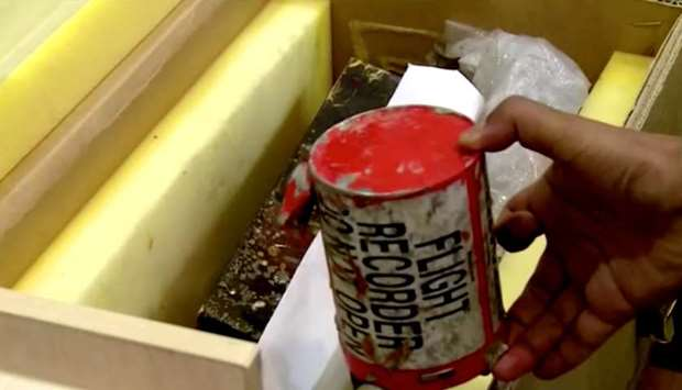 A flight recorder, also known as a black box, purportedly recovered from the crashed Ukrainian airli