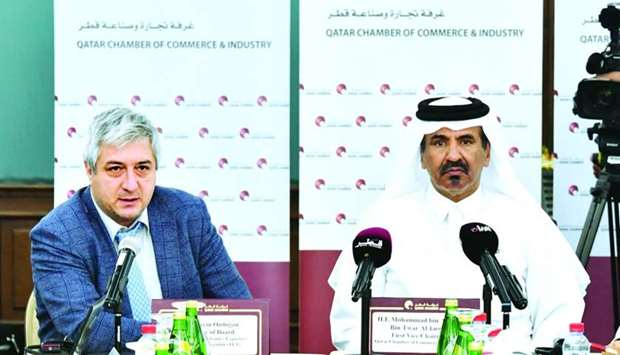 """Al-Kuwari and Ozdogan during a meeting in Doha. """"Qatar enjoys a huge potential, and it is a leading"""
