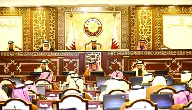 HE the Speaker Ahmed bin Abdullah bin Zaid al-Mahmoud chairing Monday's meeting of the Shura Council