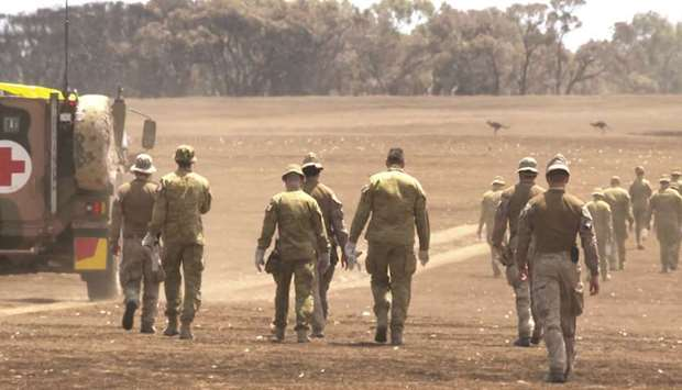 Members of the Australian Department of Defence search for deceased wildlife killed by bushfires on