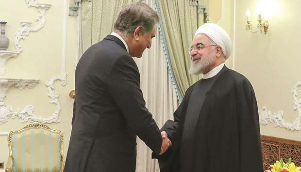 Pakistan FM Qureshi with Iranian President Rouhani