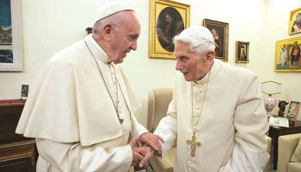 Pope Francis with predecessor Benedict XVI at the Vatican.