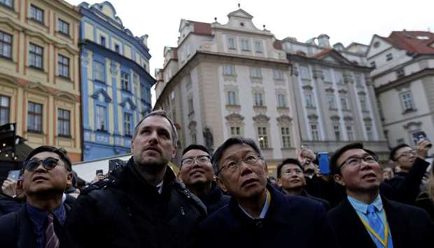Mayor of Prague Zdenek Hrib and Taipei city Mayor Ko Wen-je arrive at the Old Town Hall to sign a pa