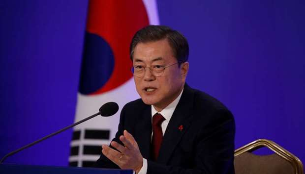 South Korean President Moon Jae-in speaks during his New Year press conference at the presidential B