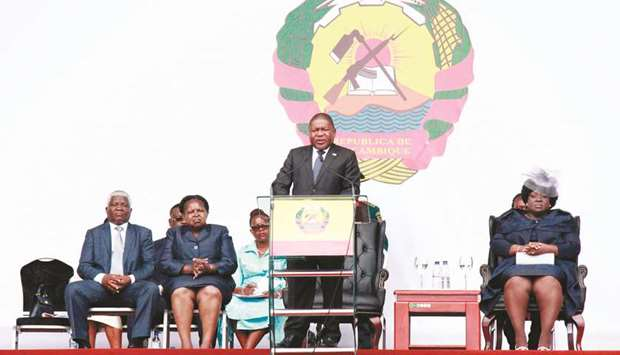 Filipe Nyusi, the President of Mozambique, delivers a speech at his inauguration at the Independence
