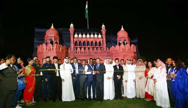 Indian ambassador P Kumaran inaugurating the event at MIA Park on Thursday in the presence of a numb